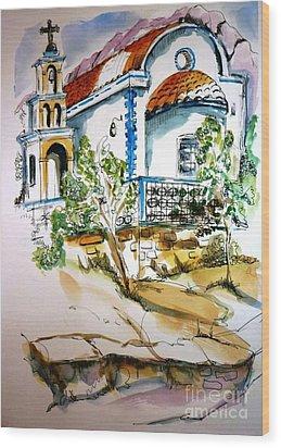 Greek Church Wood Print by Therese Alcorn