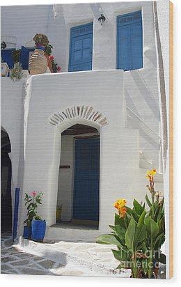 Greek Doorway Wood Print by Jane Rix