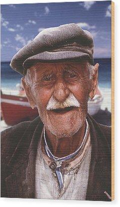 Greek Fisherman Wood Print by Ron Schwager