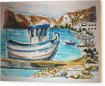 Wood Print featuring the painting Greek Fishing Boat by Therese Alcorn