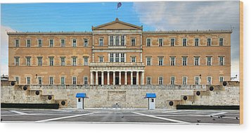 Greek Parliament Wood Print by Constantinos Iliopoulos