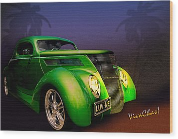 Green 37 Ford Hot Rod Decked Out For A Tropical Saint Patrick Day In South Texas Wood Print by Chas Sinklier