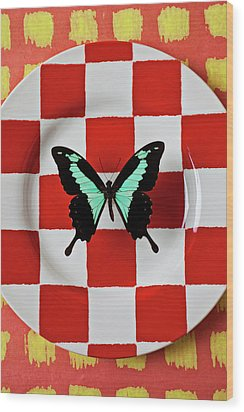 Green And Black Butterfly On Red Checker Plate Wood Print by Garry Gay