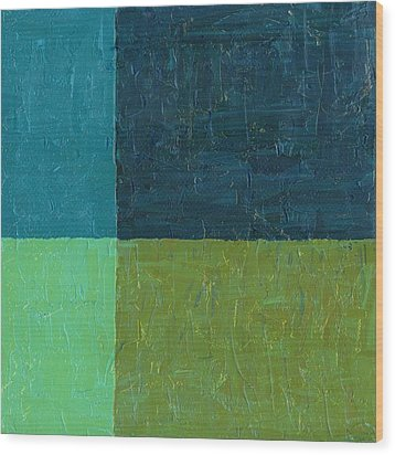 Green And Blue Wood Print by Michelle Calkins