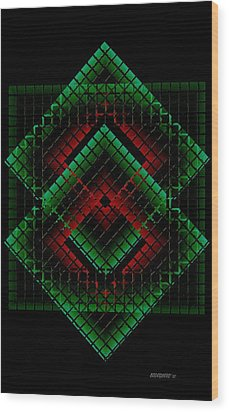 Green And Red Geometric Design Wood Print by Mario Perez
