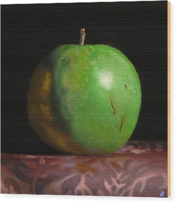 Green Apple Number 4 Wood Print by Jeffrey Hayes