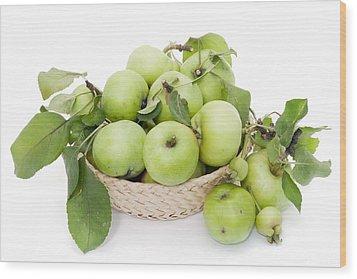 Green Apples In Basket Wood Print by Aleksandr Volkov