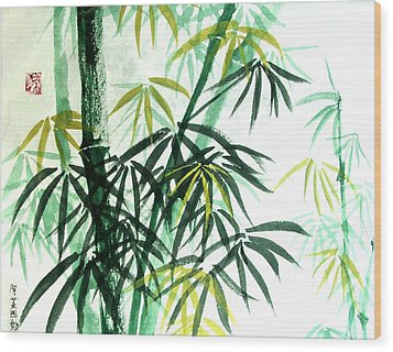 Wood Print featuring the painting Green Bamboo by Alethea McKee