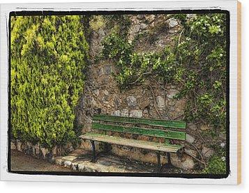 Green Bench Wood Print by Mauro Celotti