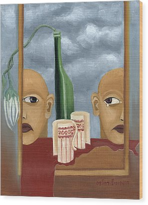 Green Bottle Agony Surrealistic Artwork With Crying Heads Cut Cups Flowing Red Wine Or Blood Frame   Wood Print by Rachel Hershkovitz