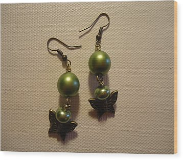 Green Butterfly Earrings Wood Print by Jenna Green
