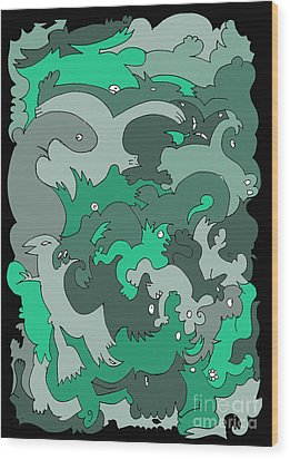 Green Creatures Wood Print by Barbara Marcus