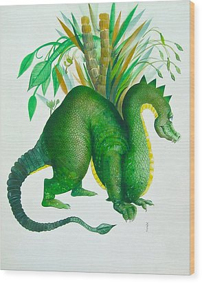 Green Dragon Wood Print by Richard Yoakam