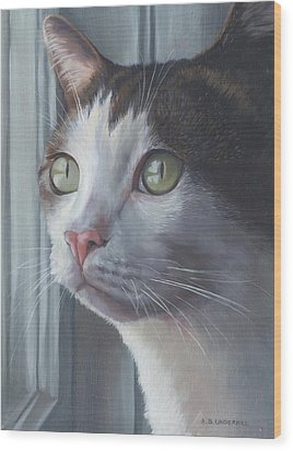 Wood Print featuring the painting Green Eyed Cat by Alecia Underhill