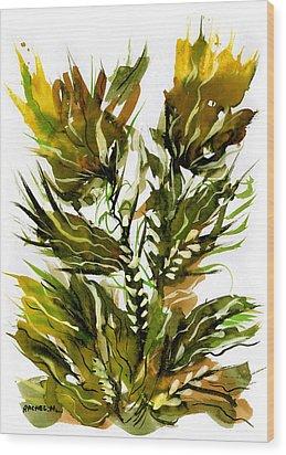 Green Flames Wood Print by Rachel Hershkovitz
