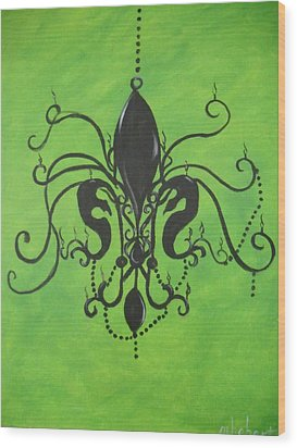 Green Fleur De Chandelier Wood Print by Marian Hebert