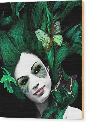 Green Goddess Wood Print by Diana Shively