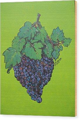 Green Grapes Wood Print by Timothy Hawkins