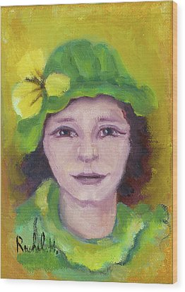 Green Hat Face Wood Print by Rachel Hershkovitz