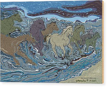 Green Horse Wave Wood Print by Susie Morrison