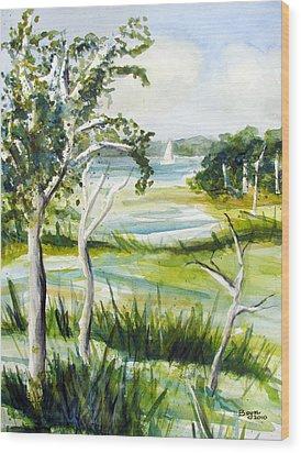 Green Land Wood Print by Clara Sue Beym