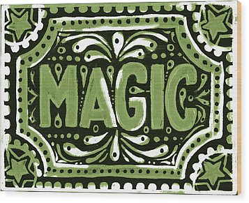 Wood Print featuring the painting Green Magic by Nada Meeks