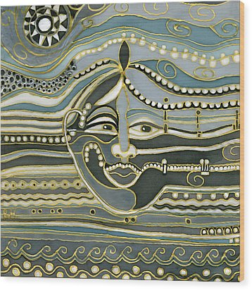Green Maya Wood Print by Rachel Hershkovitz