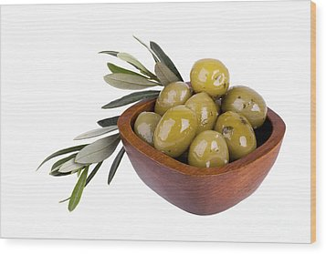 Green Olives Wood Print by Jane Rix