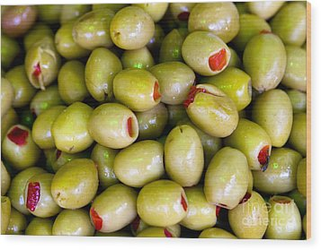 Wood Print featuring the photograph Green Olives by Leslie Leda
