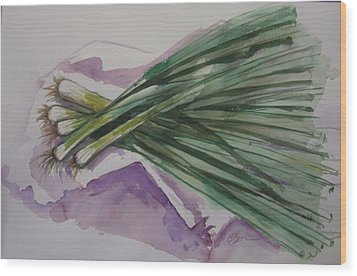 Green Onions Wood Print by Barbara Spies
