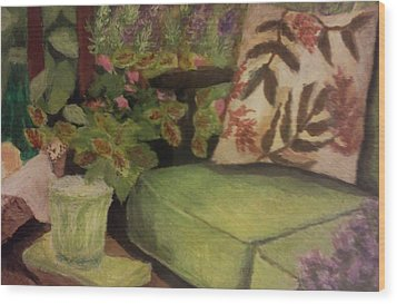 Wood Print featuring the painting Green Patio by Christy Saunders Church