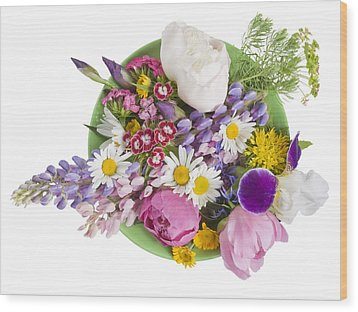 Wood Print featuring the photograph Green Plate With June Flowers by Aleksandr Volkov