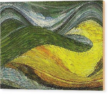 Green Sea Wood Print by Tinatin Dalakishvili