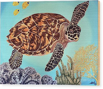Green Seaturtle 1 Wood Print by Nanci Fielder