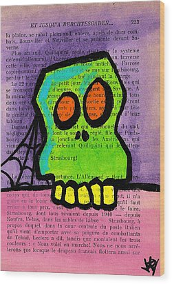 Green Skull Wood Print by Jera Sky