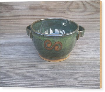 Green Soup Bowl Wood Print by Monika Hood