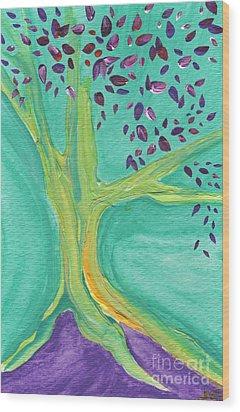 Green Tree Wood Print by First Star Art