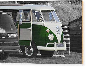 Green Vw Camper Wood Print by Paul Howarth