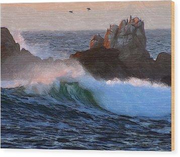 Green Waves Pastel Wood Print by Steve K