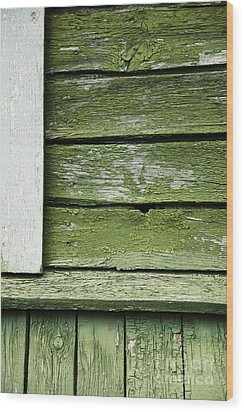 Wood Print featuring the photograph Green Wooden Wall by Agnieszka Kubica