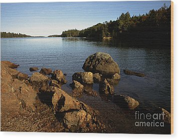 Greenlaw Cove Deer Isle Maine Wood Print by Thomas R Fletcher
