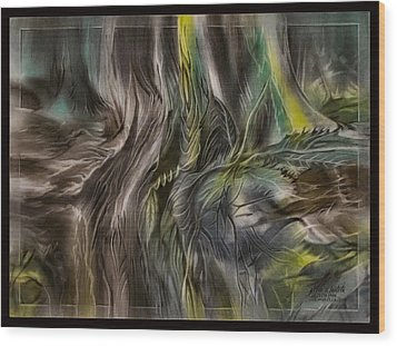 Wood Print featuring the pastel Greenleaves Turn To Brown4  2009 by Glenn Bautista