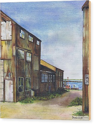 Greenport Boatyard Wood Print by Susan Herbst