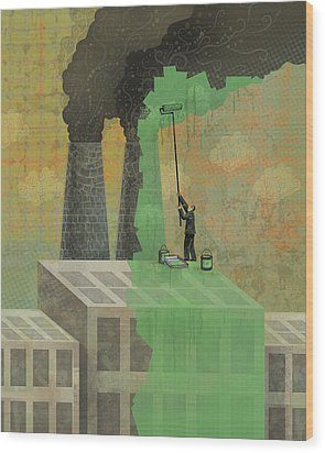 Greenwashing Wood Print by Dennis Wunsch
