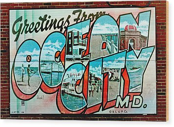 Greetings From Oc Wood Print by Skip Willits