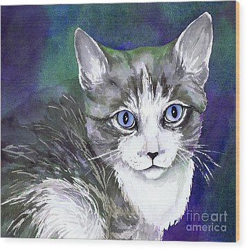 Grey And White Kitten Wood Print by Cherilynn Wood