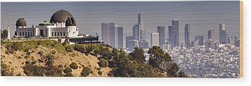 Griffith And Los Angeles Wood Print by Ricky Barnard
