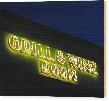 Grill And Wine Wood Print by Christopher Kerby