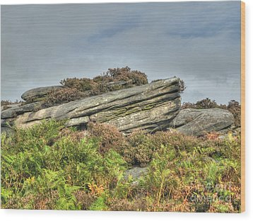 Gritstone Outcrop - Colour Wood Print by Steev Stamford