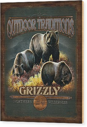 Grizzly Traditions Wood Print by JQ Licensing